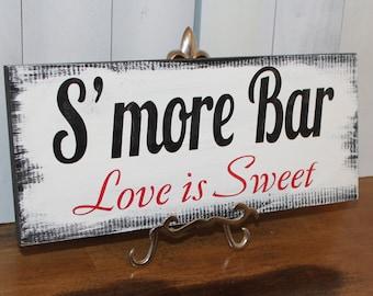 S'MORE BAR Wedding Sign/U choose color/Great Shower Gift/Vintage Style/Black/Red