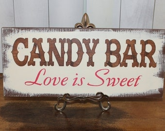 CANDY BAR Wedding Sign/U choose color/Great Shower Gift/Vintage Style/Brown/Red