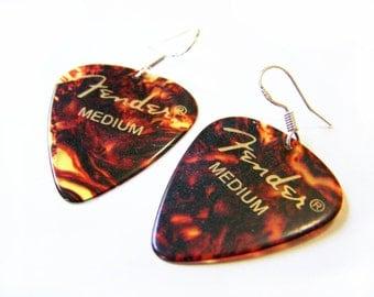 Fender Medium Tortoise Shell Guitar Pick Sterling Silver Earrings
