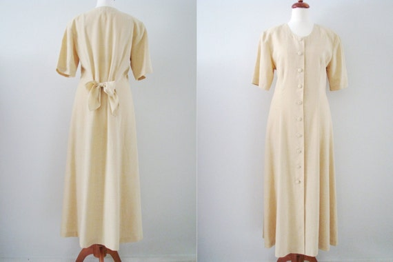 80s/90s Maxi Shirtdress w/ Sash Bow Belt in Pale Cream Yellow by Malli Mari, M // Vintage Day Dress