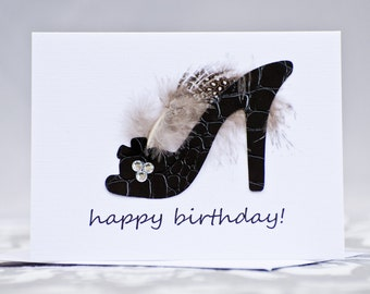 Birthday Card High Heel Black Shoe with Feather and Rhinestones