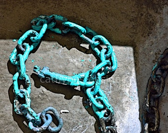 Industrial Art Chain Graphic Fine Art Photograph Turquoise Red Black