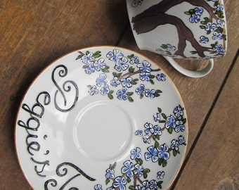 Hand painted blue cherry blossom custom tea cup and saucer. Birthday, wedding or thank you gift