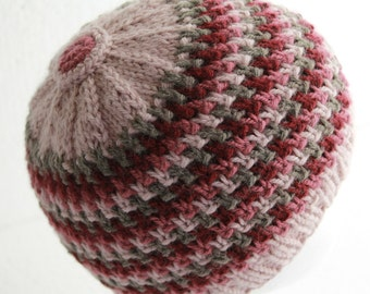Hand Knit Beanie Crochet Button Top Women's Winter Fashion Pink and Grey Ready To Ship Hat
