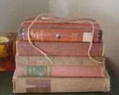 Vintage Melon: Bookstack Lot of 5  Hardcovers in Peach, Dusty Rose, Browns Shabby Chic Canfield, Geagon SALE