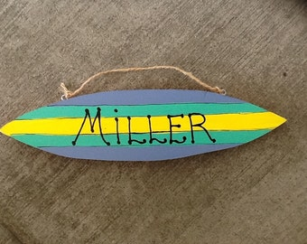 Custom beach surfboard sign