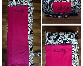Girls Black and White Zebra with Hot Pink Nap Mat