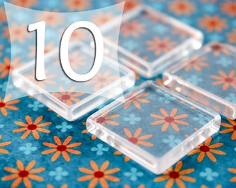 1 Inch Square Flat Glass Cabochon 25 mm Glass Tile Cabs