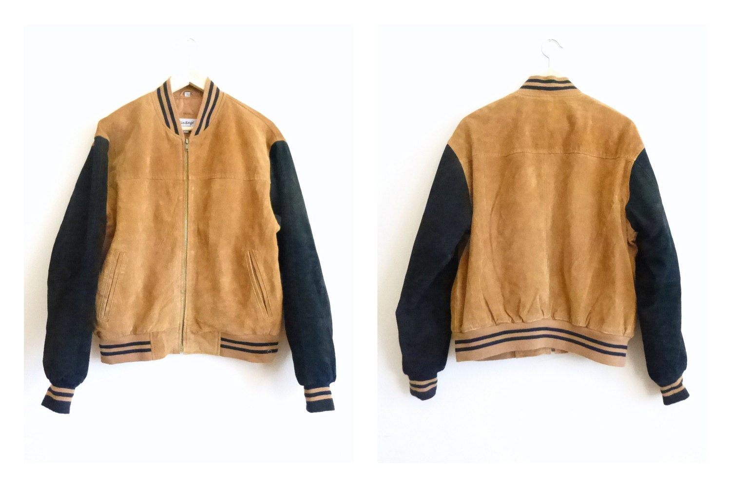 Menu0026#39;s Black And Tan Leather Baseball Jacket Leather