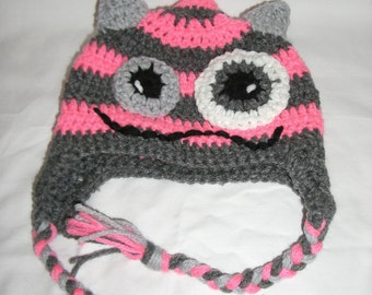 Pink and Grey Monster beanie