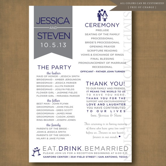Unique Wedding Reception Program Ideas