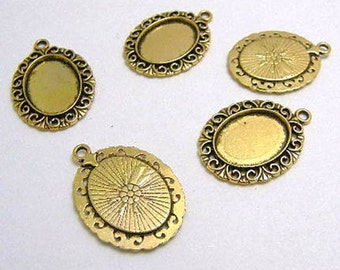10 Pendant Cabochon Settings Antique Gold for 18mm x 13mm Oval Cabochons