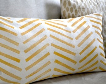 chevron, hand printed pillow cover