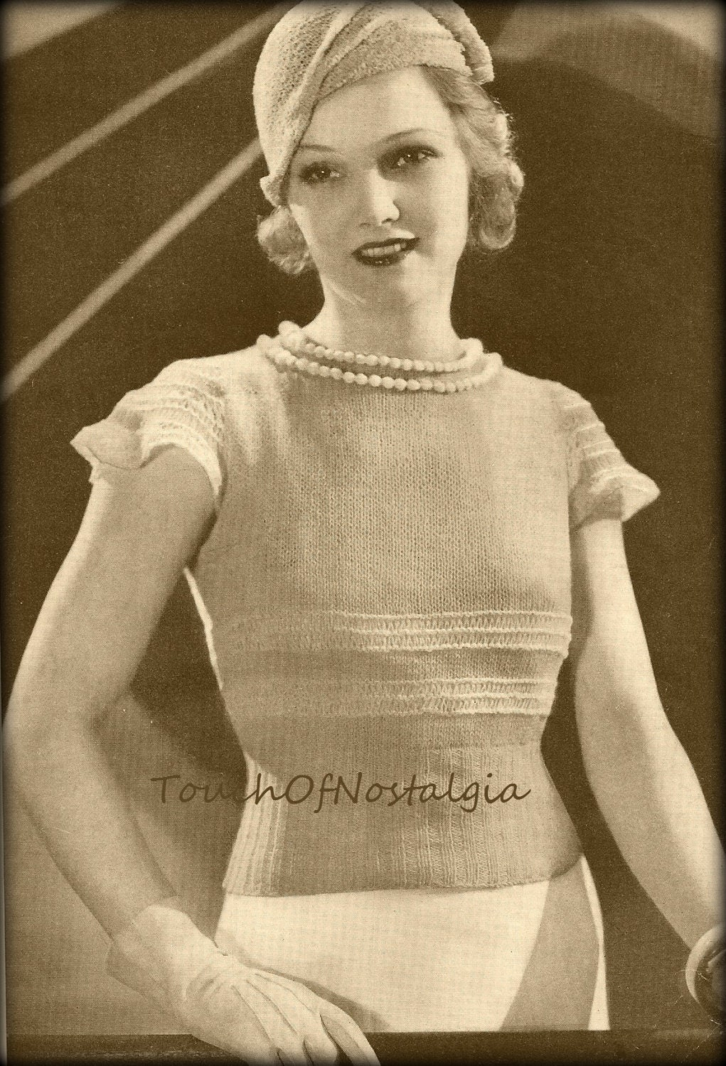 1930s Knitting Patterns : 1930s NECKLACE BLOUSE Vintage Knitting Pattern The NECKLACE