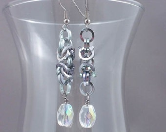 Silver washed Byzantine Chainmaille Earrings