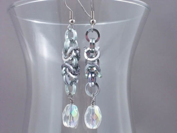 Silver washed Byzantine Chainmail Earrings