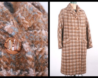 1950s Coat // Plaid Coat with Wood & Shell Buttons // 50s Outerwear Brown, Cream and Blue Jacket // Heavy Winter Coat (Large- XL)