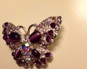 Vintage beautiful shiny butterfly brooch