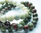 Green Jasper Natural Stone Bracelet Set . Snowflake Jasper . Snakeskin Jasper . Tallow Jasper