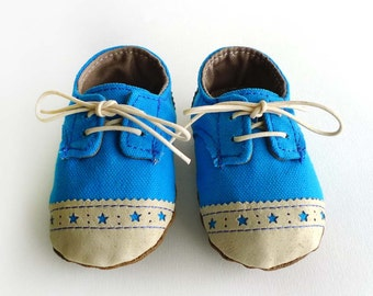 Baby Boy Shoes Blue Canvas with Brogued Leather Soft Sole Shoes Oxford Wingtips Wing tips