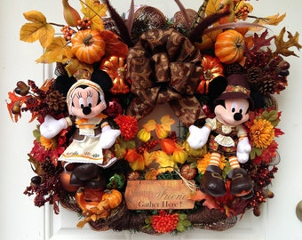 Mickey and Minnie Thanksgiving Wreath
