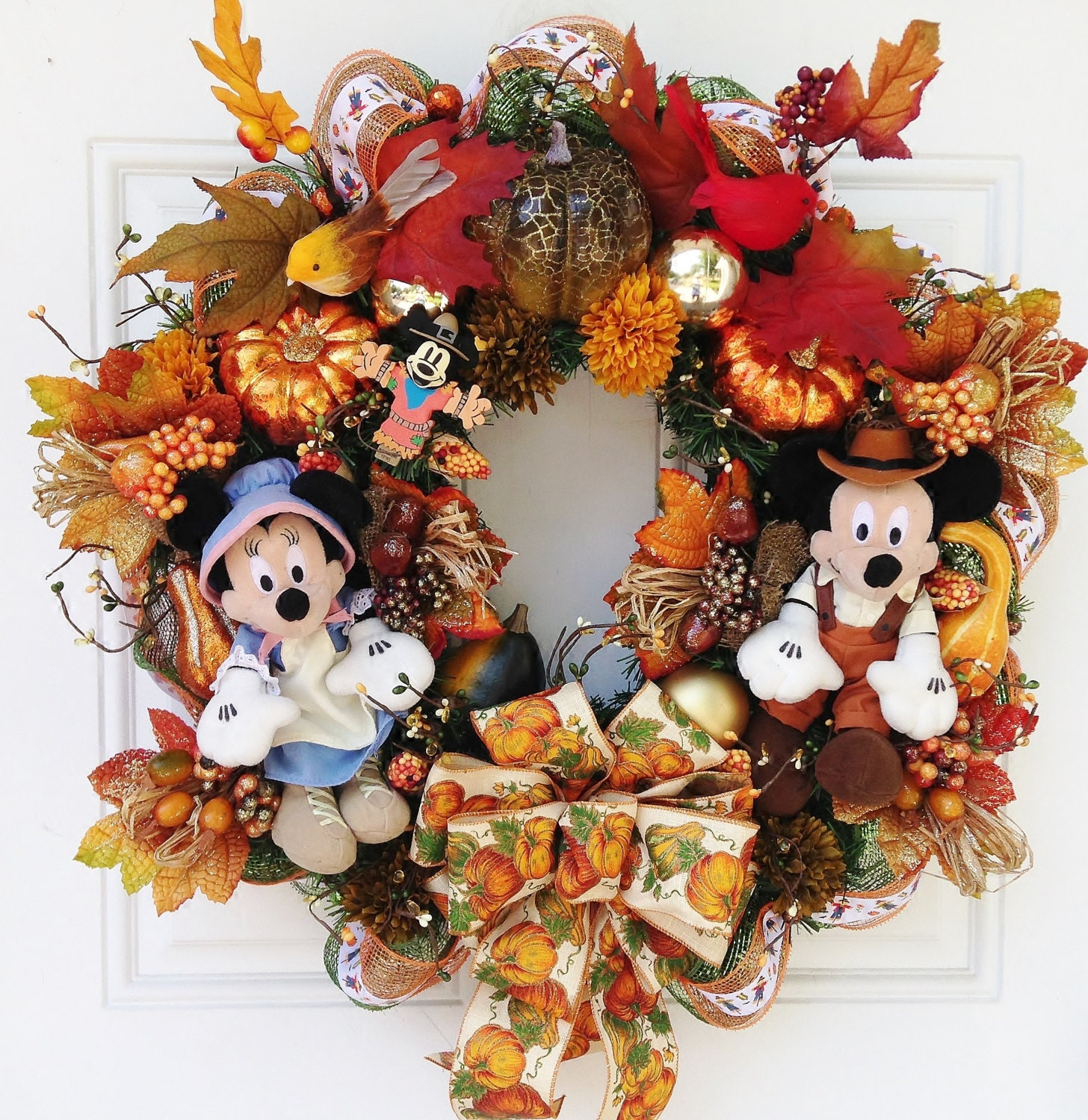 Thanksgiving Fall Mickey and Minnie Mouse Wreath