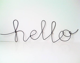"Black ""hello"" plastic covered cursive wire wall word"