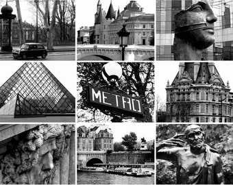 Paris Photography - Paris Collage - Iconic City in Black and White - French, Architectural, European, Iconic, Travel, Fine Art Photography