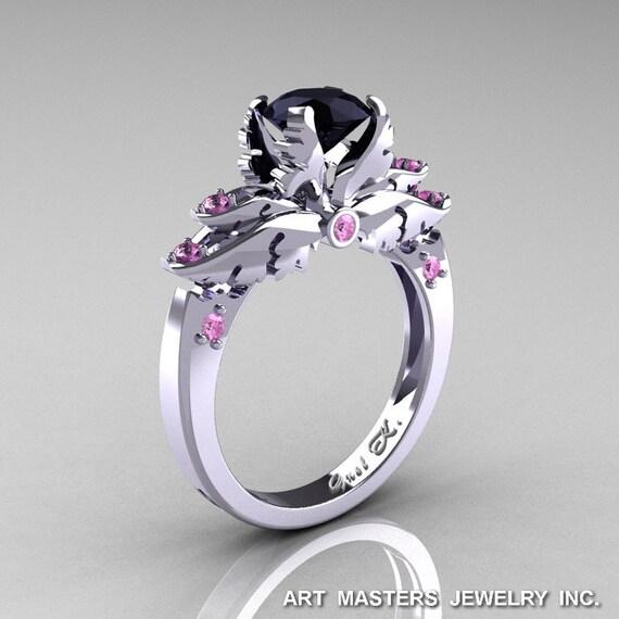 Classic Blazer 14k White Gold 1 0 Ct Black Diamond Light Pink. Black And Pink  Diamond Wedding Rings