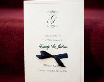 Wedding Ceremony Program Monogrammed with Ribbon Bow