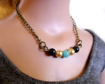 Doll Necklace - Midnight Sky - beaded jewelry for SD sized BJD or American Model, dollfie dream