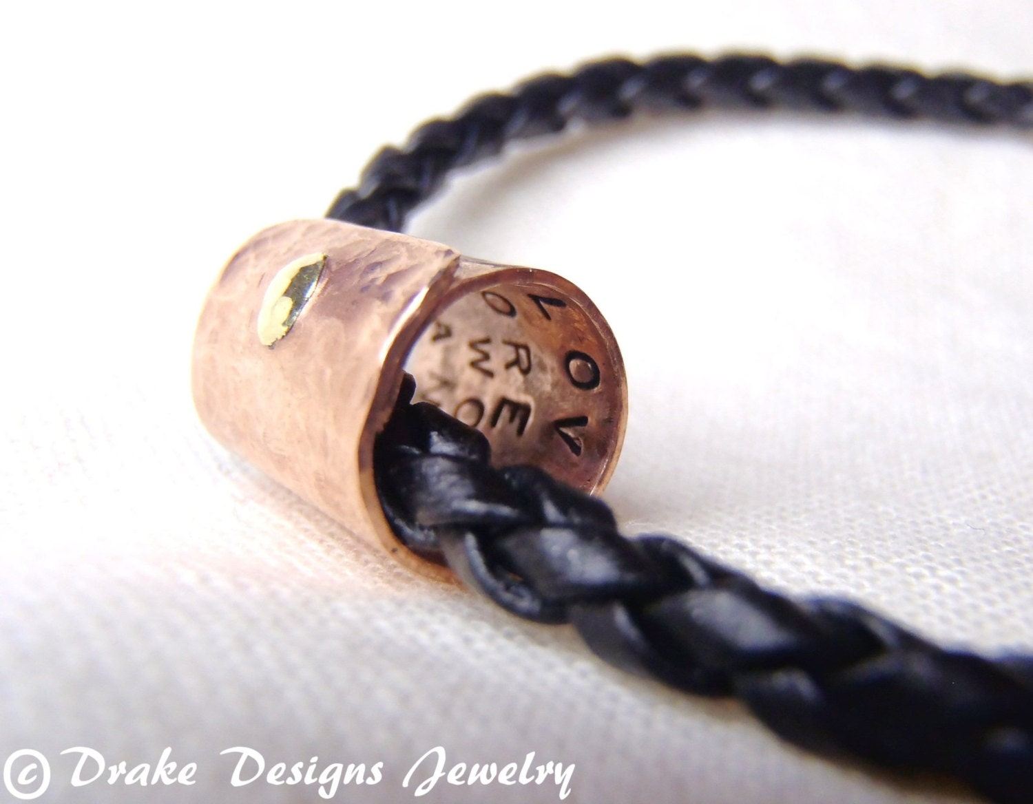 Secret Message Bracelet Custom Mens Leather Bracelet Copper
