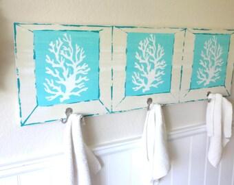 Nautical Wooden Beach House Coral Towel Rack