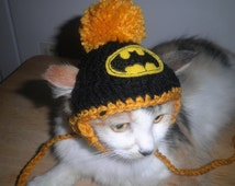 Batman Cat or Dog Hat Crocheted  with Pompom for Halloween Costume