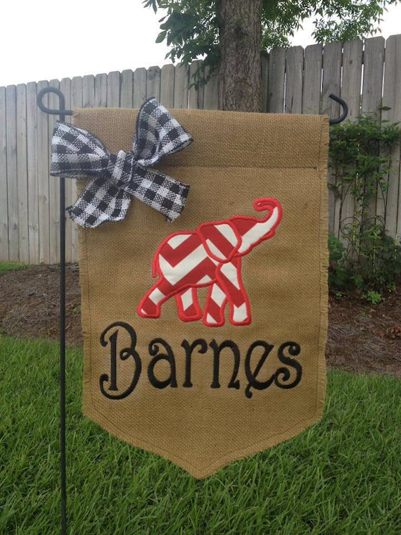 Items similar to Alabama elephant Burlap personalized garden flag
