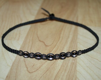 Clear Bead Black Hemp Choker Necklace - Womens Choker - Teen Girl Jewelry for Teen Girl Necklace - Girlfriend Gift - Boys Necklace - Custom