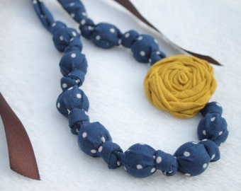 Fabric Necklace,Teething Necklace, Chomping Necklace, Nursing Necklace - Blue Polka Dots with Yellow Rose
