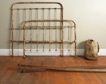 cast iron three quarter size bed frame