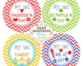 Baby Month Milestone Stickers, Monthly Sticker, Baby Monthly Stickers,Bodysuit, Baby Shower Gift Neutral Chevron - Baby's First Holidays