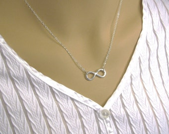 Sterling Silver Infinity Necklace,  Silver Eternity Necklace