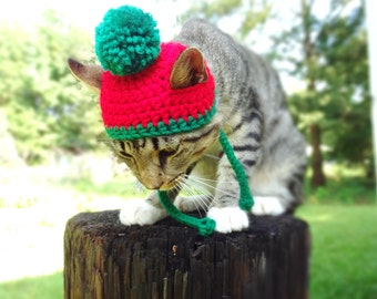Christmas Hat for Cats, Christmas Cat Hat,  Christmas Toboggan for Cats, Christmas Cat Toboggan - The Christmas Pom Pom Beanie Hat for Cats