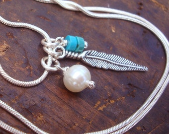 My Favorite Things | necklace | freshwater pearl | turquoise stone and antique feather charm/ .925 SS Sterling Silver snake chain