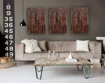 Reclaimed wood wall art,  3 peice set  made of barnwood, Large art, wood wall sculpture