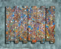 44x34 Distressed Industrial Decor Painted Barn Board Abstract Painting Wall Art Sculpture Tribute to Toy Factory CUSTOM MADE