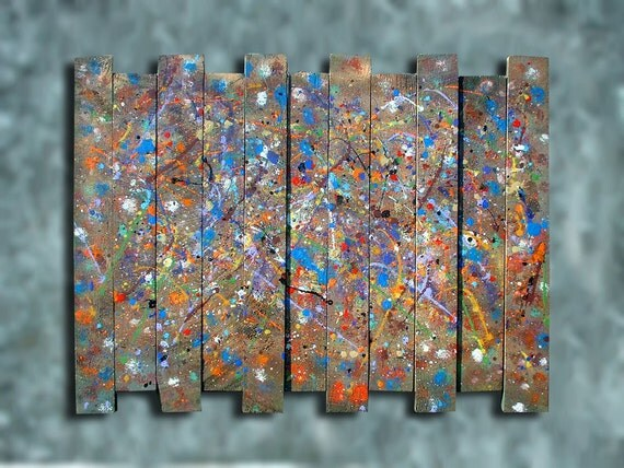 Jepson board wall decoration : Distressed industrial decor painted barn board abstract