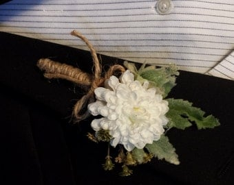 Wedding Boutonniere (Boutineer) - Rustic White Flower with Burlap