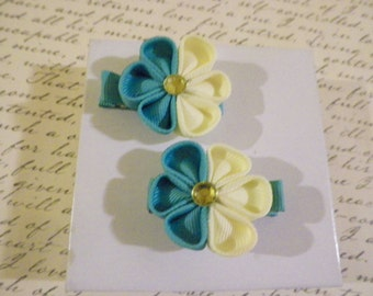 Teal and Yellow Kanzashi flower Alligator Clips