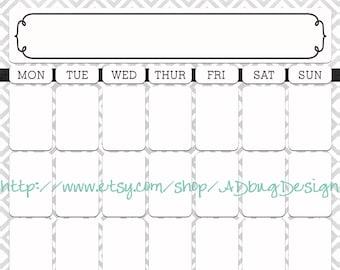 Diana Marie Full Calendar 16x20 - Printable Dry Erase Calendar - High Resolution JPG - Calendar