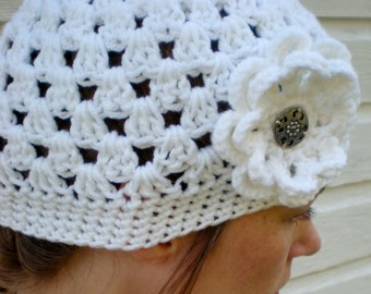 White Women's Beanie with Flower - White Crocheted Hat with Flower - Gift Idea for Her