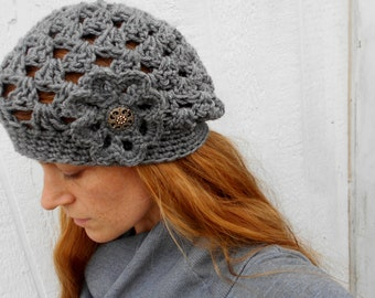 Women's Slouchy Beanie with Flower in Heather Gray - Grey Crocheted Slouchy Hat with Flower - Gift Idea for Her